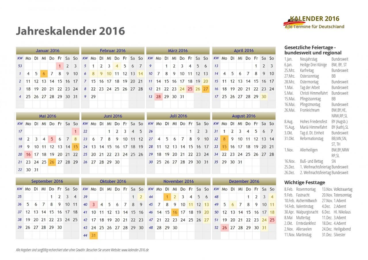 Kalender 2016 Deutschland